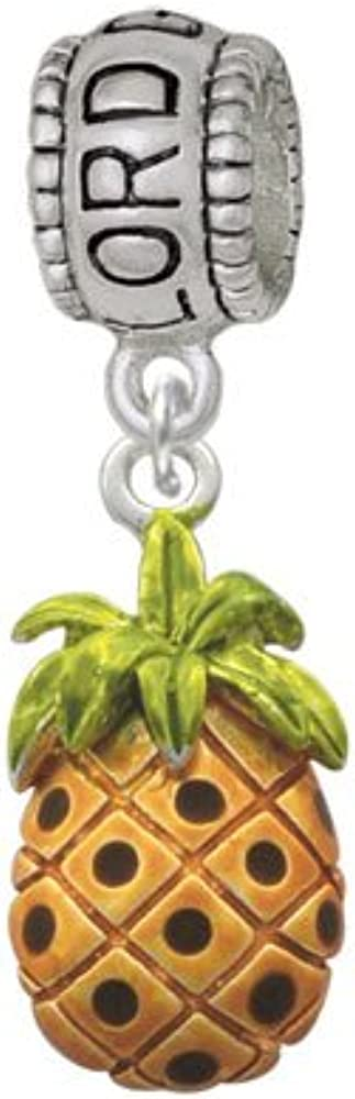 Lord Guide Me Charm Bead Silvertone Enamel Pineapple