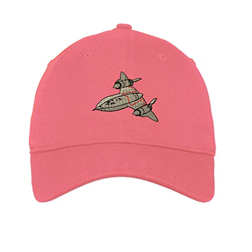 Speedy Pros LowProfileSoft Hat Sr-71 Embroidery Design Cotton Dad Hat Flat Solid Buckle Coral Design Only