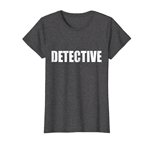 Womens Detective T Shirt Halloween Costume Funny Cute Distressed Large Dark (Female Detective Costumes)