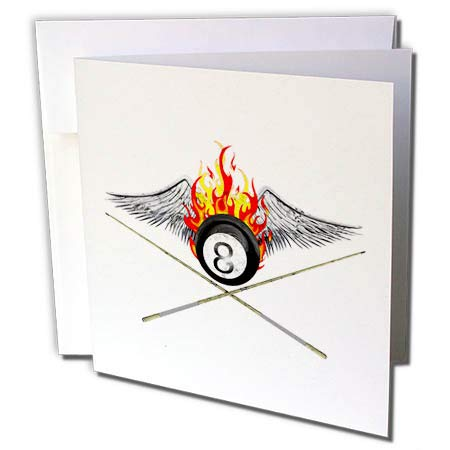 (3dRose Macdonald Creative Studios - Billiards - Flaming 8 Ball and Pool cues for Anyone who Plays Billiards or 8 Ball. - 1 Greeting Card with Envelope (gc_299266_5))