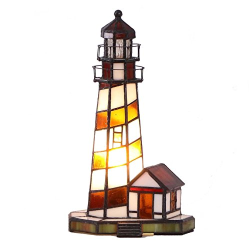 Bieye L10616 Lighthouse 11 inch Tiffany Style Stained