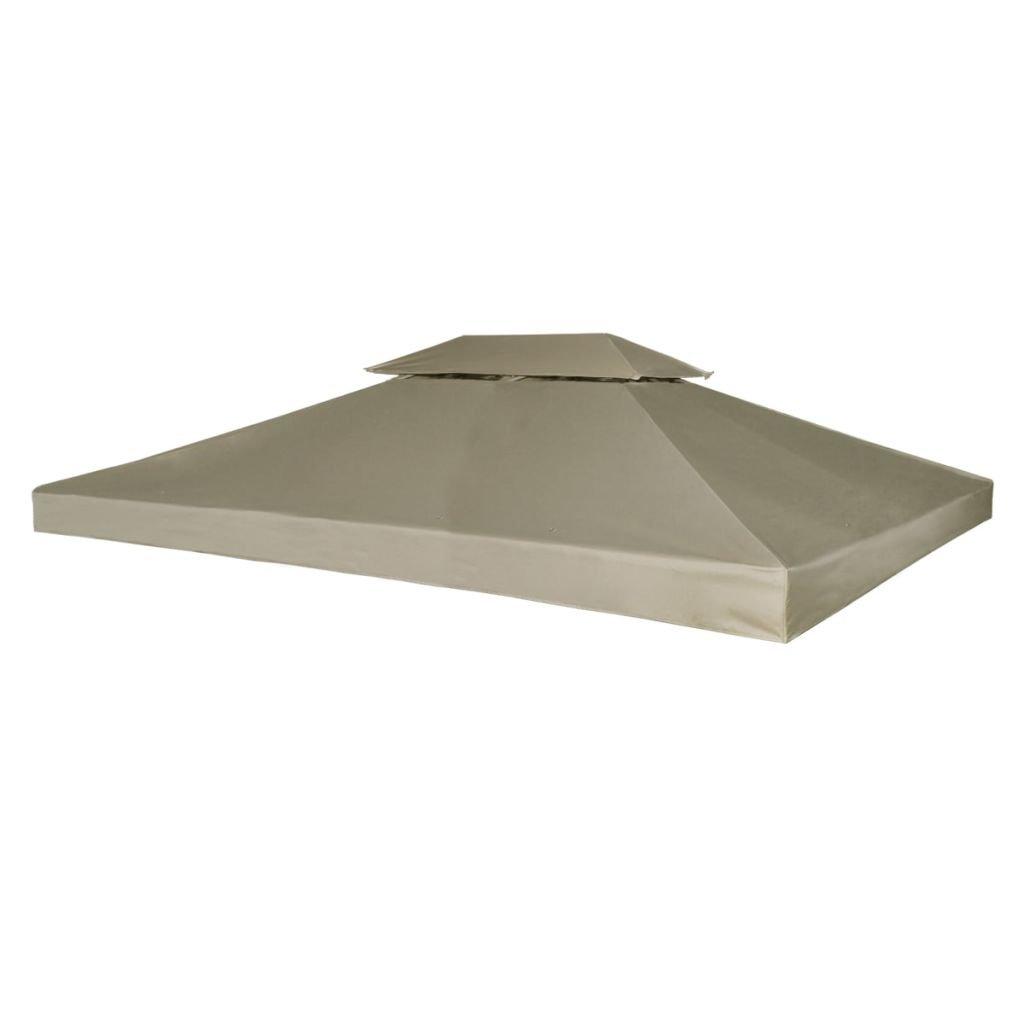 vidaXL Gazebo Canopy Top 10'x13' Beige Replacement Cover 2 Tier Outdoor Patio
