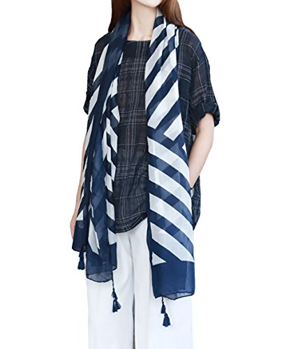 MeiLing Women#039s Lightweight Scarves Print Wraps Sarongs Cover Up Cotton Tassel Fringe Scarf Shawl