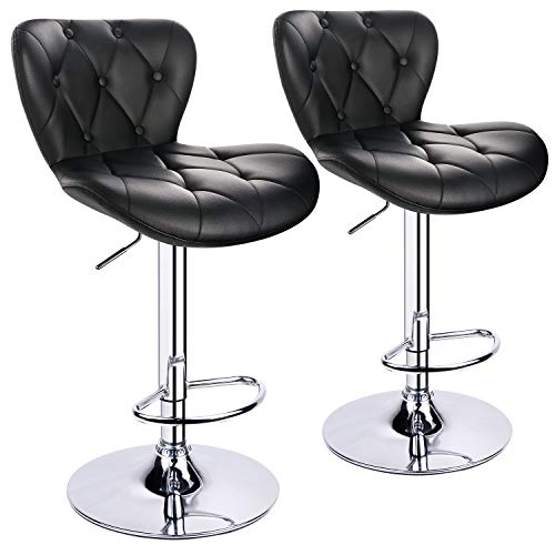 - Leopard Shell Back Adjustable Bar Stools, Swivel Bar Stool with Decorative Buckle, Set of 2, Black - Adjust from 22.5 Inches to 32.5 Inches