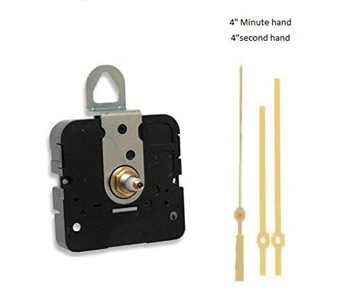 """Takane Quartz Clock Movement Mechanism, Choose Your Hands and Size, USA Made (11/16"""" Threaded Shaft for dials up to 1/2"""" Thick, Q Hands with Gold Second Hand)"""