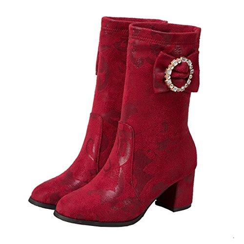 Aiyoumei Moda Donna Archi Slip-on Tacco Tacco A Zampa Tacco Autunno Inverno A Metà Polpaccio Stivali Con Strass Rosso