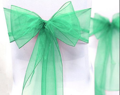 (mds 100 PCS Organza Chair Sashes/Bows sash for Wedding or Events Banquet Decor Chair bow sash -Mint)