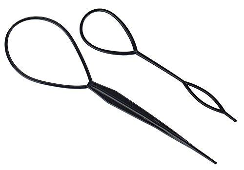 Set of 2pcs Simple to Use Black Plastic Hair Braiding / Pony