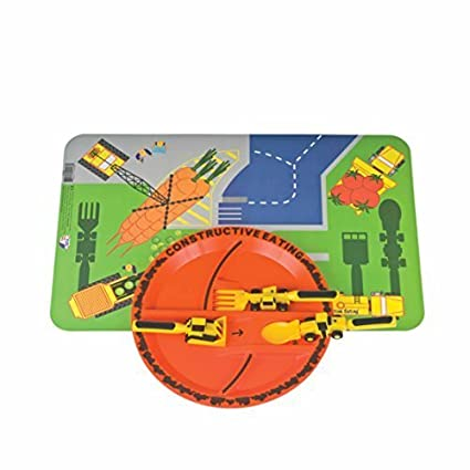 Constructive Eating and Placemat Construction Combo with Utensil Set Plate