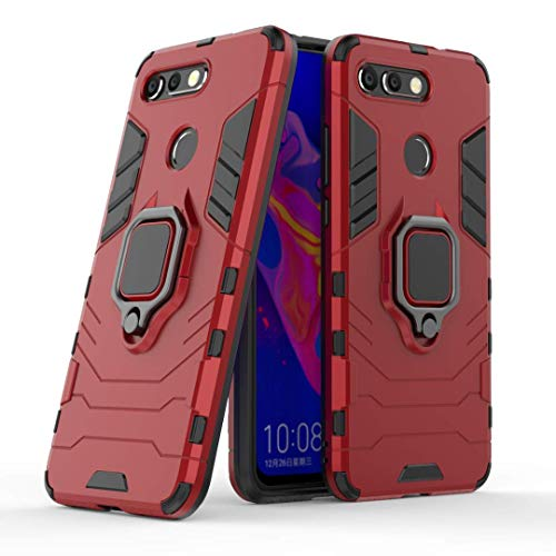Lantier 360 Degree Rotation Durable Armor Ring Kickstand Holder and Full Protective Shockproof Case for Huawei Honor View 20 Red