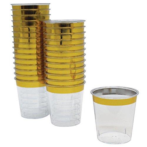 Just Artifacts 1oz Plastic Shot Glasses 120pcs Metallic Gold Rim