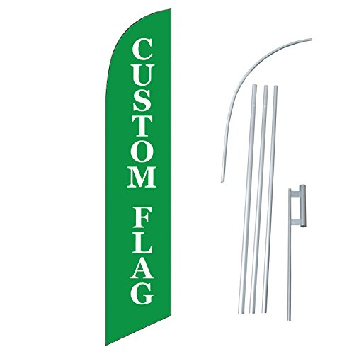 MSD Design Custom Feather Flag with Pole Spike,12-Feet Tall Single Side Printed Windless Advertising Flag Banner Sign Swooper Commercial by MSD