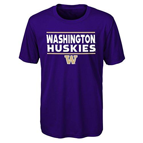 (Gen 2 NCAA Washington Huskies Youth Boys Short Sleeve Performance Tee, Youth Boys Large(14-16), Regal Purple )