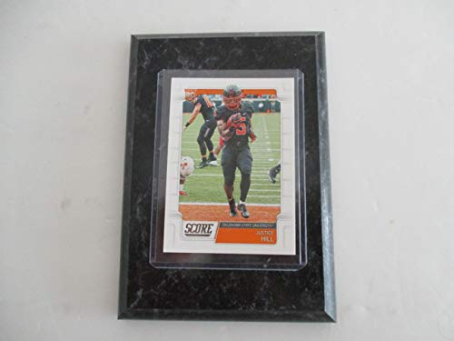 JUSTICE HILL OKLAHOMA STATE UNIVERSITY 2019 NFL SCORE ROOKIE PLAYER CARD MOUNTED ON A 4