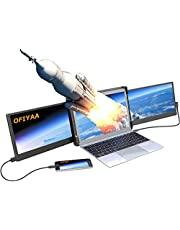 OFIYAA P2 - Extensor de monitor de ordenador portátil con pantalla triple de 12 pulgadas, FHD 1080P IPS 270° Plug and Play 4 bocinas, monitor dual portátil para múltiples portátiles compatible con portátiles de 13 a 16 pulgadas