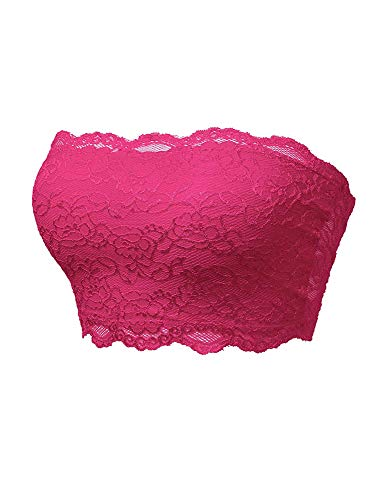 - TL Women's Full Floral Lace Strapless Seamless Stretchy Bandeau Tube Bra Top Fuchsia Large