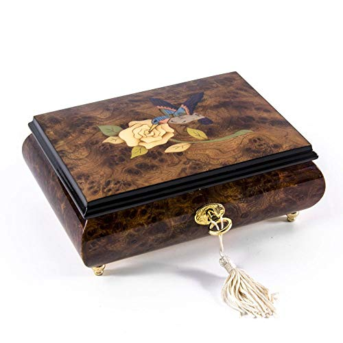 Gorgeous Hummingbird and White Rose Wood Inlay 18 Note Musical Jewelry Box - Over 400 Song Choices - Reich Mir Die Hand Mein Laben Swiss (+$40) (Mira Wood Box)