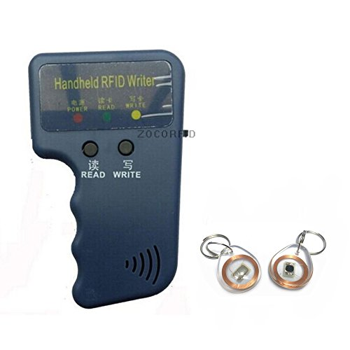 125KHz EM4100 TK4100 RFID Copier Writer Duplicator Programmer Reader + 5pcs T5577 Rewritable crystal keyfobs by ZOCORFID