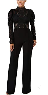 a84d1676c349 Prettysoul Sexy Club Outfits for Women - Long Sleeve Elegant Floral Lace  See Through Solid Wide
