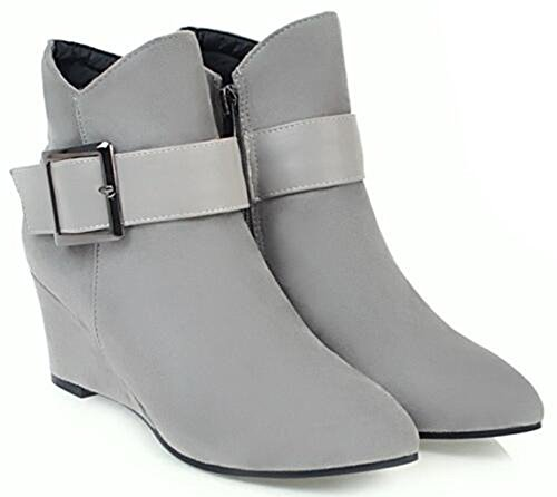 Suede With IDIFU Wedge Booties Faux Mid Zipper Ankle Boots Heels Womens Gray Vintage Buckle Side qwrn8Pzq