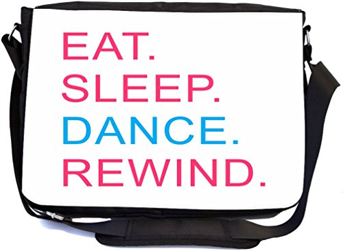 Rikki Knight Eat Sleep Dance Rewind Pink & Blue - SuperStrong Messenger Bag - School Bag - with padded pockets for Laptops & Tablets up to 14.5