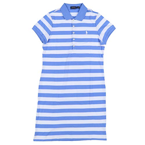 (Ralph Lauren Womens Interlock Polo Dress (Medium, Pale Blue Stripes))