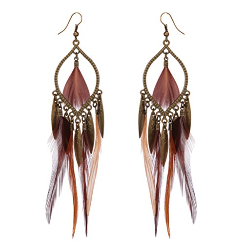Long Feather Tassel Earrings Bronze Tone Gift For Women Friend Party Wear