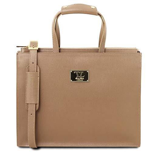 Tuscany Leather Palermo Saffiano Leather briefcase 3 compartments for women Caramel