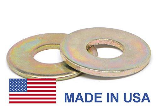 1//4 Grade 8 Flat Washer SAE Pattern Medium Carbon Steel Yellow Zinc Plated Pk 100