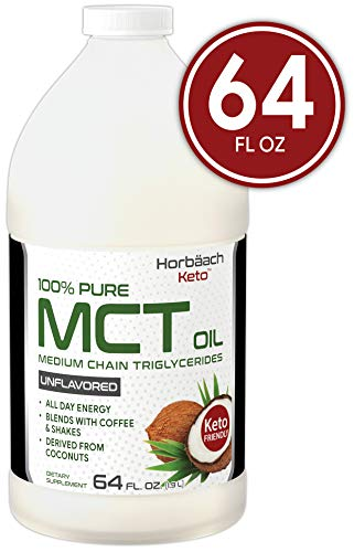 100% Pure MCT Oil | Huge Size | 64 oz | Keto, Unflavored | Blends with Coffee, Tea, and Juice Drinks | Vegetarian & Non-GMO | by Horbaach (Mct Oil)
