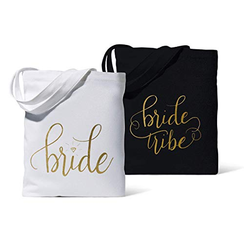 11 Piece Set of Black Bride Tribe and Bride Canvas Beach Tote Bags for Bachelorette Parties, Weddings and Bridal -