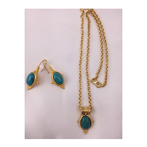 pricegems Matte Gold Finish Egyptian Etruscan Revival Blue Turquoise Pendant Necklace Drop Earrings ()