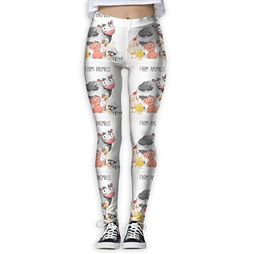 DYOW Women's Watercolor Farm Animals Cow Pig Duck Sheep Print Sports Gym Yoga Leggings Pants