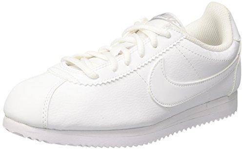 Nike Cortez (GS), Zapatillas de Running para Niñas Blanco / Gris (White / White-Wolf Grey)