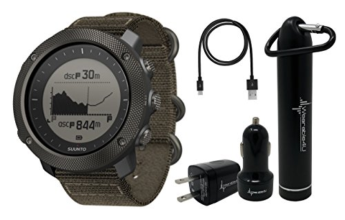 Suunto Traverse Alpha GPS/GLONASS Watch with Versatile Outdoor Functions for Fishing and Hunting and Wearable4U Ultimate Power Pack Bundle (Foliage) by Wearable4u