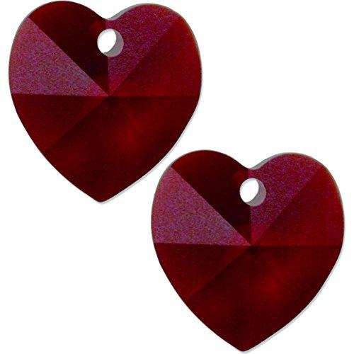 2 Garnet Swarovski Crystal Heart Pendant 6202 10mm ()