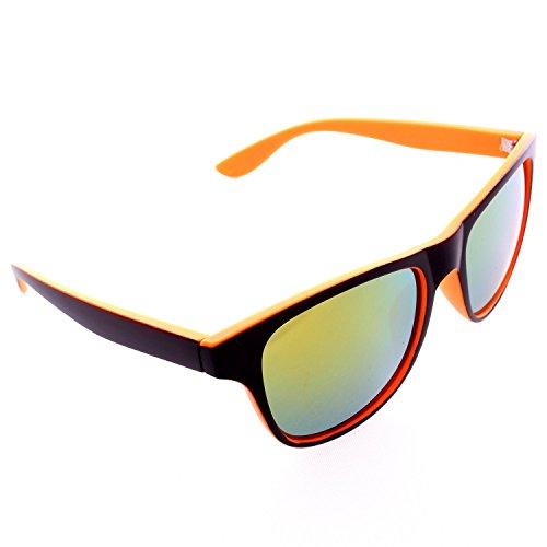 Two-Tone Neon Wayfarer Sunglasses - Orange Frame / Orange Lens