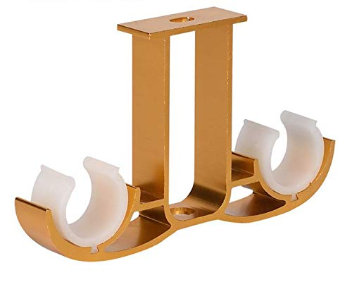Guard 2Pcs Double Curtain Rod Brackets,Ceiling Mount Bracket,Aluminum Alloy Double Curtain Drapery Rod Brackets for 28-32mm/1.1-1.25 Inch Diameter Rod,Satin Gold Finish