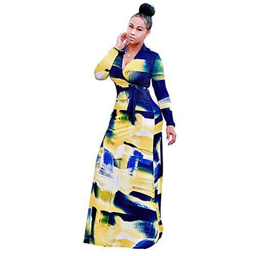 CZ Women Boho Casual Sexy Deep V-Neck Long Sleeve Floral Printed Tie Waist Maxi Long Dress(Blue, XL) by Unknown