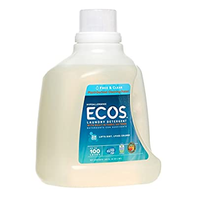 PACK OF 4 - ECOS 2X Ultra Natural Laundry Detergent, Free & Clear, 100 Loads