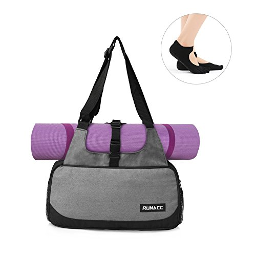 RUNACC Stylish Yoga Mat Bag with Mat Strap holder Pilates Clothing and Gym Accessories Carrier for Women, 1 Free Pair of Yoga Toesocks by RUNACC