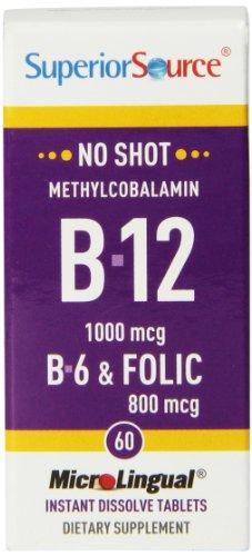 Superior Source No Shot Methylcobalamin Vitamin B12/B6/Folic Acid Tablets, 1000mcg/800 mcg, 60 Count