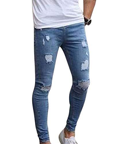 MISSMAOM Hombres Pantalones de Mezclilla Elástico Ripeado Flaco Biker Jeans Destruido Grabado Ajustado #4003