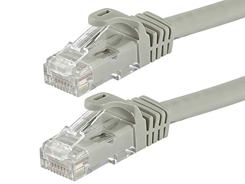Cat5e 350mhz Ethernet Patch Cord - Monoprice Flexboot Cat5e Ethernet Patch Cable - Network Internet Cord - RJ45, Stranded, 350Mhz, UTP, Pure Bare Copper Wire, 24AWG, 5ft, Gray