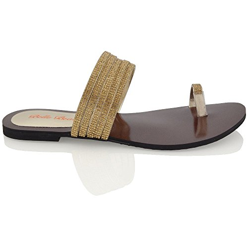 (ESSEX GLAM Womens Flat Toepost Diamante Sparkly Gold Synthetic Slip On Strappy Sandals 7 B(M) US)