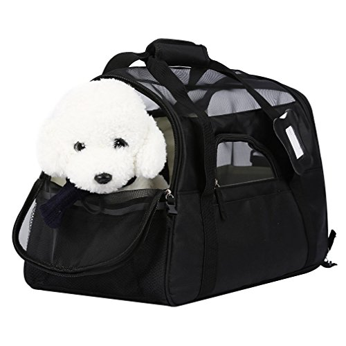 Dog Carrier YKS Soft Sided Pet Travel Carriers,Portable Bags for Dogs, Cats and Small Pets, w/ Name Label,Airline Approved(L)