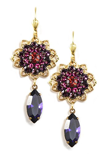 Clara Beau Multicolor Pink Purple Swarovski Glass Crystal Goldtone Flower Drop Earrings EAM133]()