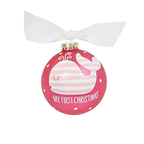 - Coton Colors My First Christmas Pink Whale Glass Ornament