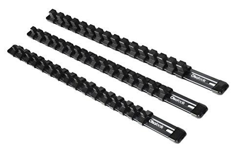 3-Piece Aluminum Socket Organizer | Olsa Tools |1/4-Inch, 3/8-Inch, 1/2-Inch Drive Socket Rails Hold 48 Sockets | Premium Quality Socket Holders (BLACK) (Socket Toolbox Organizer)
