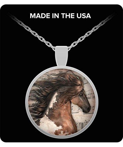 Social Karma Marketing Silver Horse Pendant, Horse Lovers, Pendant for Girls, Pinto Altered Art Collage
